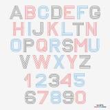 Vector linear font. 80`s retro alphabet font. Simple and minimalist alphabet in mono line style Vector Illustration