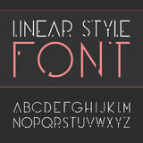 Vector linear font - simple and minimalistic alphabet in line style . Vector linear font - simple and minimalistic alphabet in line style Stock Illustration