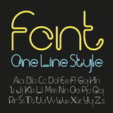 Vector linear font - simple and minimalistic alphabet in line style Royalty Free Stock Photos
