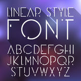 Vector linear font - simple and minimalistic alphabet in line style. Cosmic style Stock Illustration