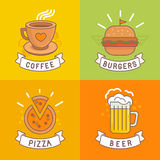 Vector linear food labels Stock Images