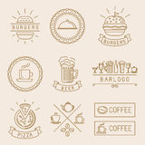 Vector linear food labels Royalty Free Stock Photos