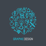 Vector linear graphic design concept Royalty Free Stock Photo