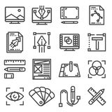 Vector linear graphic design icons set. On white background Stock Images