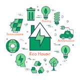 Green Eco House Concept. Vector linear green round concept of Eco House. Line icons of home, ecology sign, energy saving lamp bulb, reusing and electrocar Stock Photography