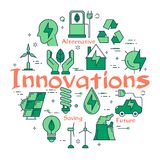 Green Eco Innovations Concept. Vector linear green round concept of Eco Innovations. Line icons of smart house, electric, solar panels, wind generator Stock Photography