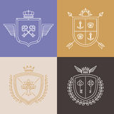 Vector linear heraldry symbols and design elements Royalty Free Stock Photos