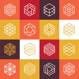 Vector linear hexagon logos and design elements Stock Photos