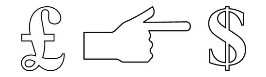 Vector linear icon depicting a hand with an extended index finger showing the way from pound to dollar, for an exchange office Royalty Free Stock Images
