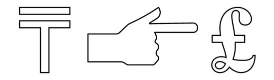 Vector linear icon with a picture of a hand with an extended index finger indicating the exchange of tenge per pound Stock Photography