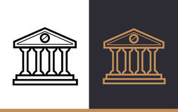 Vector linear icons BANK BUILDING of finance, banking. High qual. Premium quality modern icons for your design Stock Photos