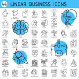 Vector linear icons business economic development Royalty Free Stock Photography