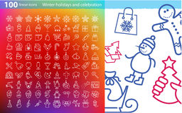 Vector linear icons for Christmas and New Year Stock Photos