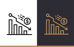 Vector linear icons DECLINE of finance, banking. High quality mo. Premium quality modern icons for your design Royalty Free Stock Photography
