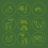 Vector linear icons of forest animals. Royalty Free Stock Images