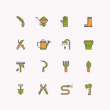 Vector linear icons of garden tools vector illustration