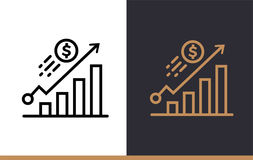 Vector linear icons GROWTH of finance, banking. High quality mod. Premium quality modern icons for your design Royalty Free Stock Photography