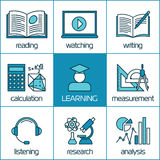 Vector linear icons of learning Stock Images