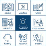 Vector linear icons of learning Stock Image