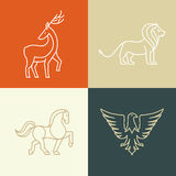 Vector linear icons and logo design elements Stock Photos