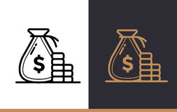 Vector linear icons MONEY BAG of finance, banking. High quality. Premium quality modern icons for your design Stock Image