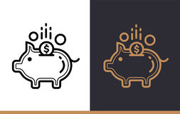 Vector linear icons PIGGY BANK of finance, banking. High quality. Premium quality modern icons for your design Stock Photography