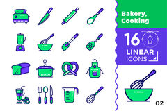 Vector linear icons set of bakery, cooking. High quality modern. Vector pictogram suitable for print, website and presentation Stock Photo