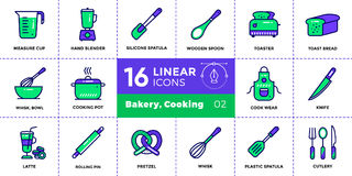 Vector linear icons set of bakery, cooking. High quality modern. Vector pictogram suitable for print, website and presentation Royalty Free Stock Image