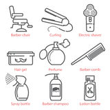 Vector linear icons set with barber equipment and accessories for infographics and UX Stock Photo