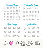 Vector linear icons set, cloud storage, speech bubles, multimedia for web and application Stock Image