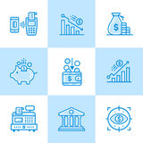 Vector linear icons set of finance, banking. High quality modern Stock Photo