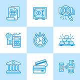 Vector linear icons set of finance, banking. High quality modern Royalty Free Stock Photo