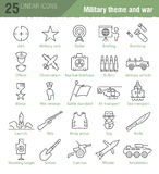Vector linear icons set for military infographics Stock Image