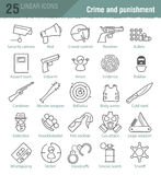 Vector linear icons set for police infographic Stock Photo