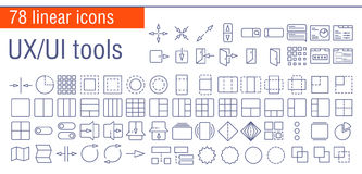 Vector linear icons set of UI/UI tools Royalty Free Stock Photography