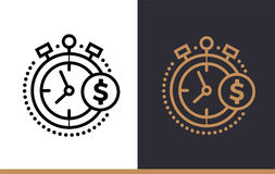 Vector linear icons TIME IS MONEY of finance, banking. High qual. Premium quality modern icons for your design Royalty Free Stock Photos