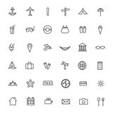 Vector linear icons of tourism and travel. Royalty Free Stock Photography