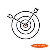 Vector linear image of two arrows sticking out of a target, a flat line icon Royalty Free Stock Image