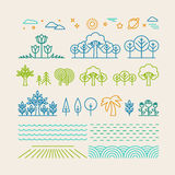 Vector linear landscape icons Royalty Free Stock Photography