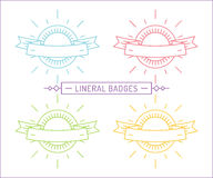Vector linear logo template. Abstract arrow shape Royalty Free Stock Photography
