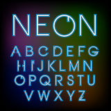 Vector linear neon font. Vector linear font - simple and minimalistic alphabet in line style Stock Illustration