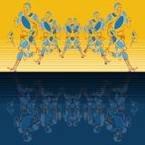 Vector linear pattern of stylized figures of athletes vector illustration