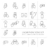 Vector linear phone and technology icons set with hand gestures Stock Photography