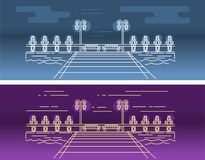 Vector linear picture of the pier on the water, with the lighting elements royalty free illustration