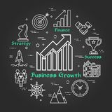 Chalk board - Business Growth - Arrow Up. Vector linear round concept of Business Growth - Arrow Up. Thin line icons of Business dealings, Startup and Success Royalty Free Stock Images