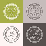 Vector linear runnig badges Stock Image