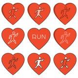 Vector linear running logo and symbol. I love run. Stock Photo