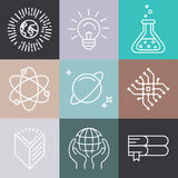 Vector linear science icons Royalty Free Stock Photography