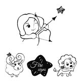 Fire signs of the zodiac. Vector linear set of children s zodiac signs, sketch style Royalty Free Stock Image