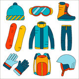 Vector linear snowboard equipment colored icons set. Winter sport activities icons in flat style. Stock Photo
